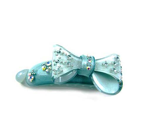 New Blue Litterl Bow-Knot Hair Banana Barrette Acryl/Crystal