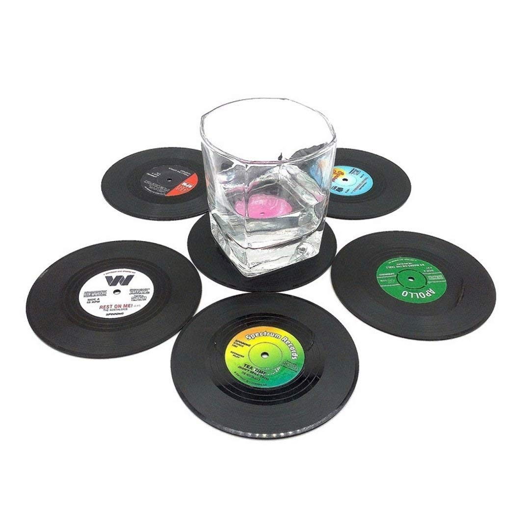 LUQUAN Creative Drink Placemat Spinning Retro Vinyl Cd Record Drinks Coasters