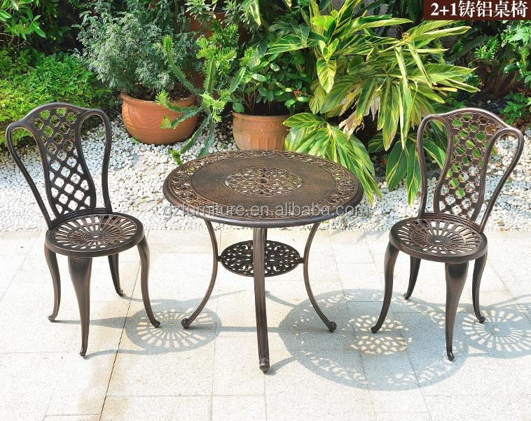 Outdoor Patio Furniture 3pcs Cast Aluminum Bistro Set Table in Antique Bronze HD