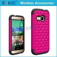 Made In China Newest Phone Case Dual Layer Hybrid Shockproof Gel Rhinestone Bling Armor Defender Case For HTC ONE 2 M8