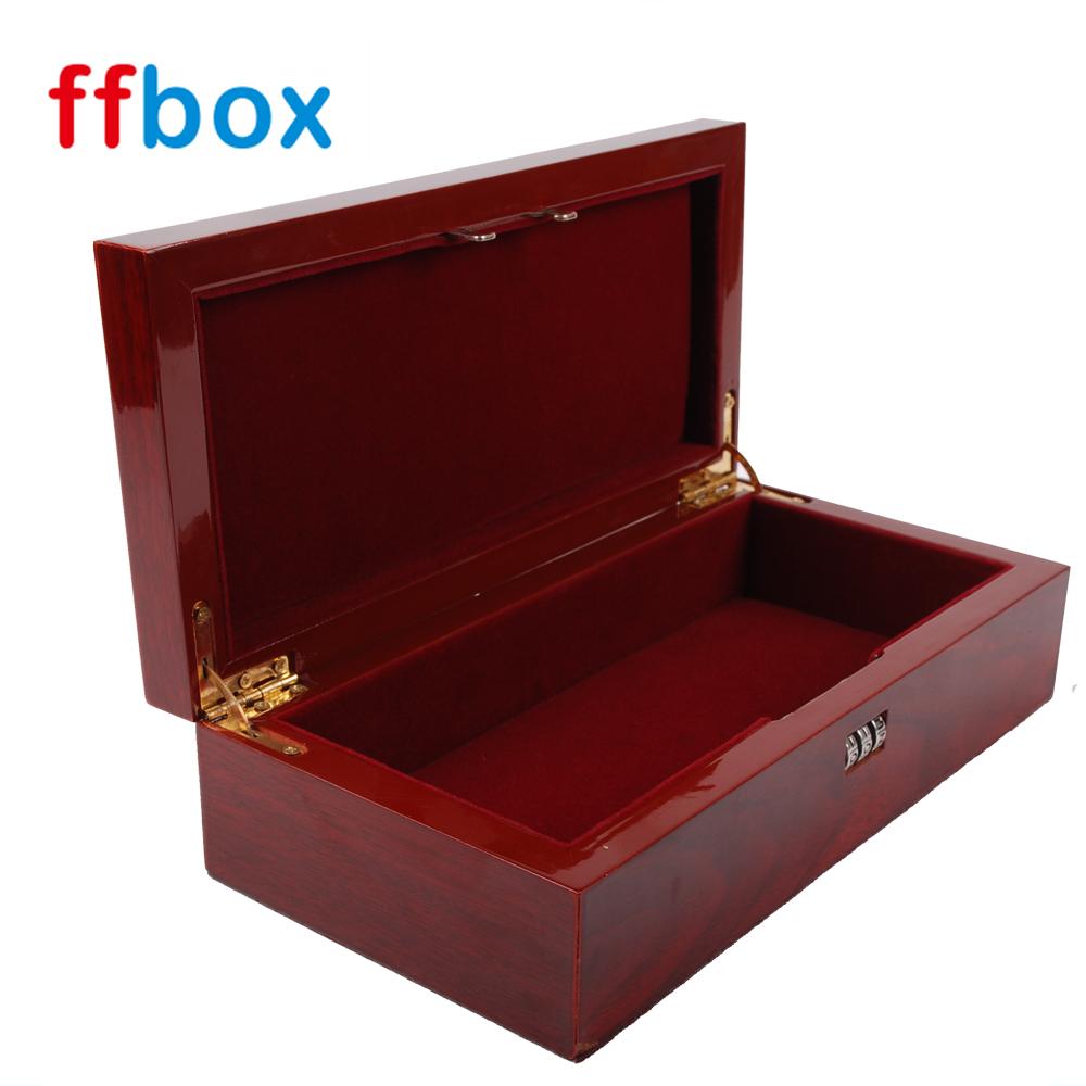 High Gloss Cherry acabamento em Laca 3 Digital pequena caixa de presente de madeira com fechadura de Combinação
