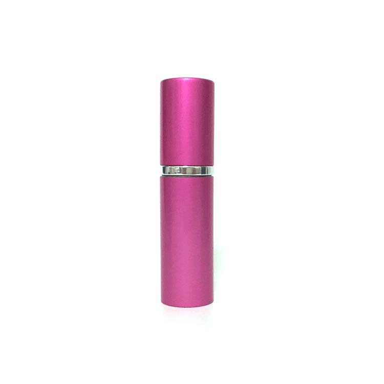 high quality 10ml pink aluminium sheath and cap perfume bottle with silver pump spray