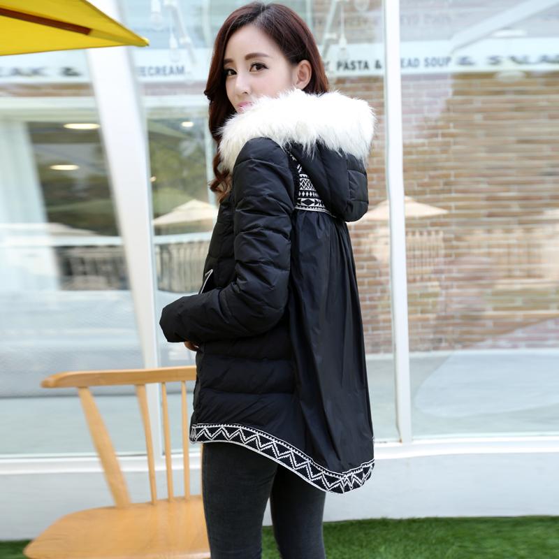 Пво зима большие ярдов беременные женщины вниз куртка длинная раздел для беременных вниз пальто без тары для беременных одежда