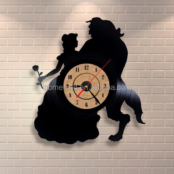 Decoraci n vinilo reloj negro reloj record tema vinilo lp - Relojes de vinilo ...