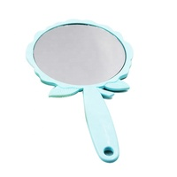 Unique Design Flower Shape Hand Mirror Round Glass Makeup Plastic Hand Held Mirror With Handle
