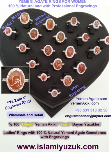 % 100 Natural Yemeni Agate Rings with or without engraving for women