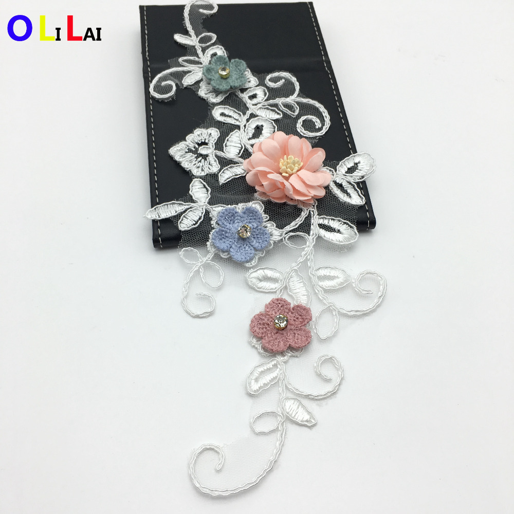 CRN0439 fashion colored flower with stones crystal applique for ladies
