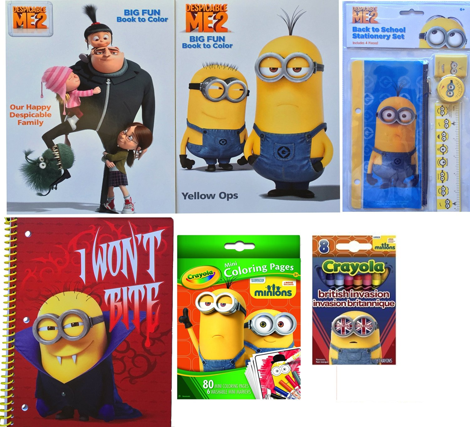 Minions Movie Exclusive Arts and Crafts Gift Includes Minions Jumbo Coloring Books , Minions Back to School Stationary Set, Minions Mini Coloring Pages, Minions Spiral Notebook with Crayons