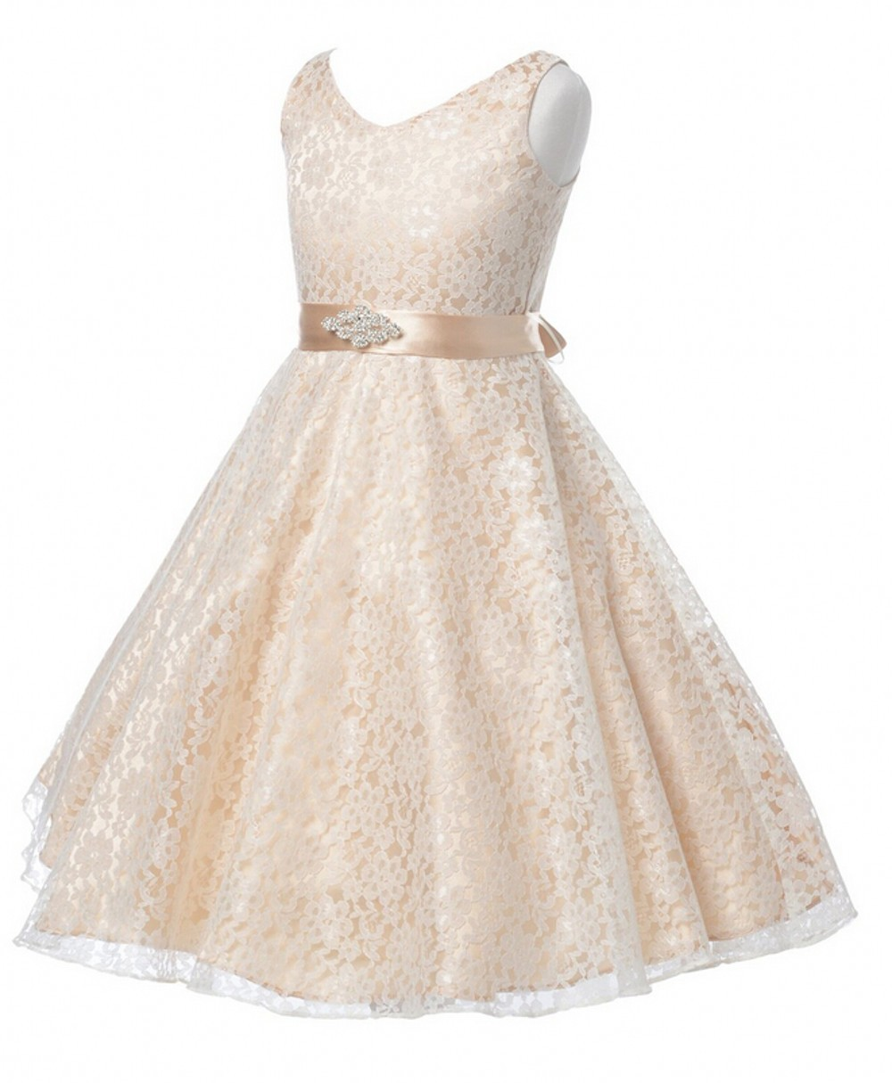 23744be4813 Get Quotations · Sweety Champagne Flower Girl Dresses For Weddings Vestidos  De Primera Comunion First Communion Dresses For Girls