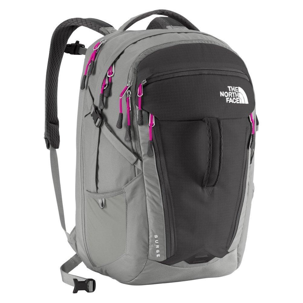 The North Face Surge Asphalt Gray Pink Laptop Backpack Shoulder Bag
