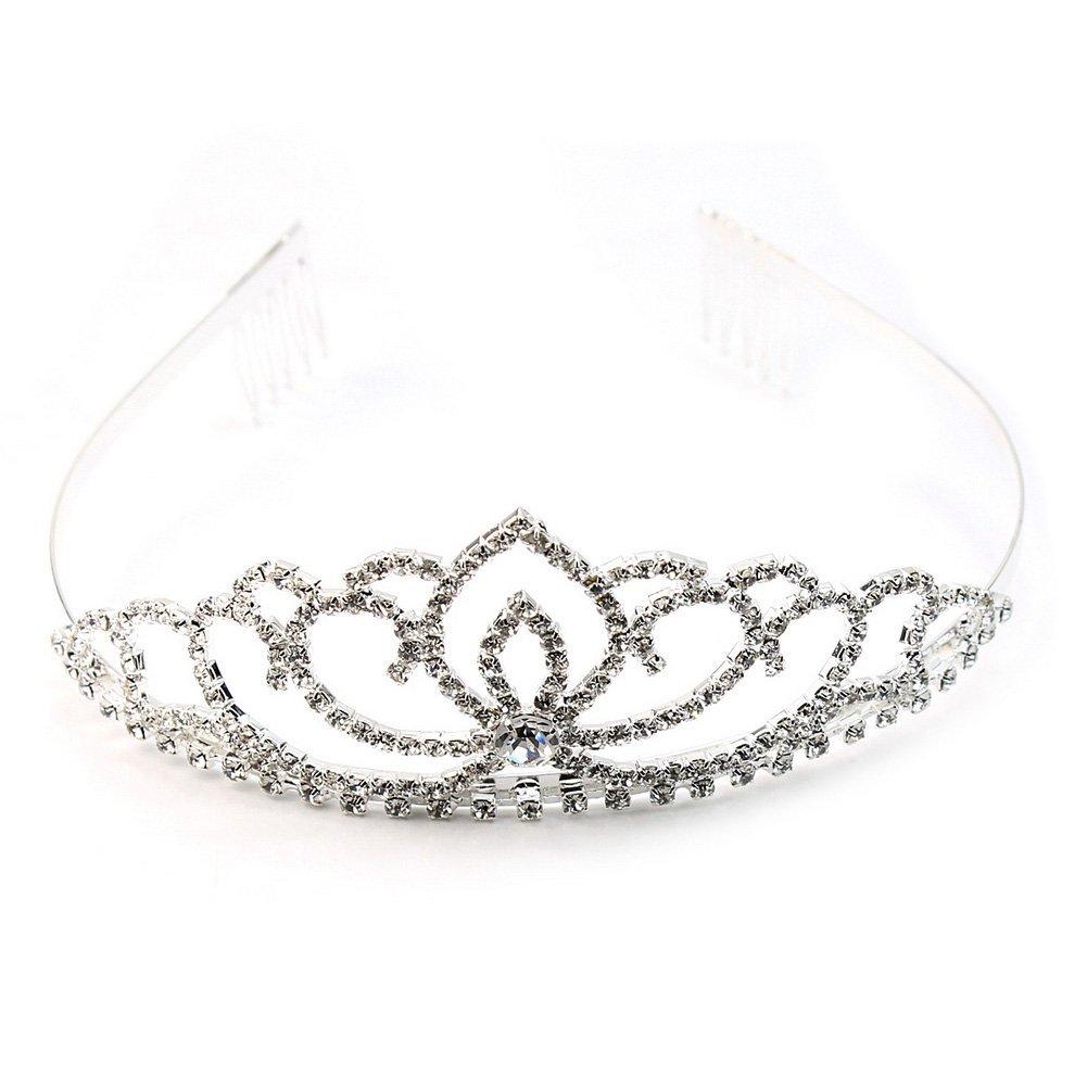 Exquisite Fashion Sparkly Rhinestone Silver Crown Tiara Wedding Prom Bride Headband Hair Clip Gift
