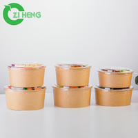 China wholesale food grade disposable custom logo printed package noodle kraft paper bowl