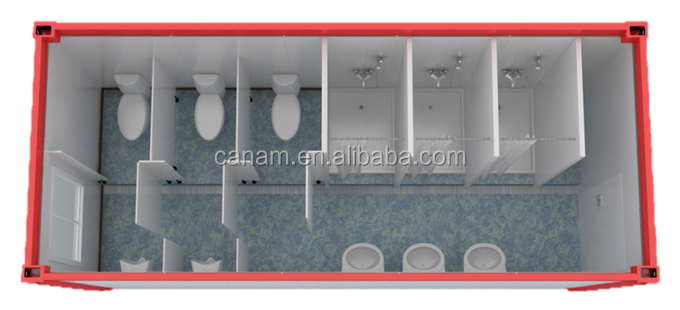 High Quality Prefab flatpack 20'ft container toilet