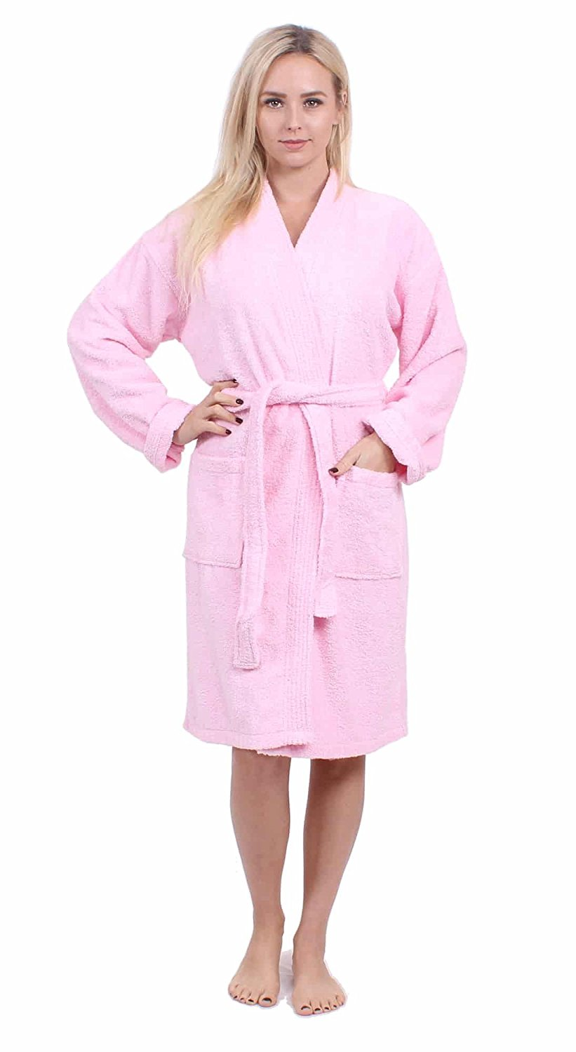 Get Quotations · Turkuoise Women s Terry Cloth Robe 100% Premium Turkish  Cotton Terry Kimono Collar 406a8a9a3