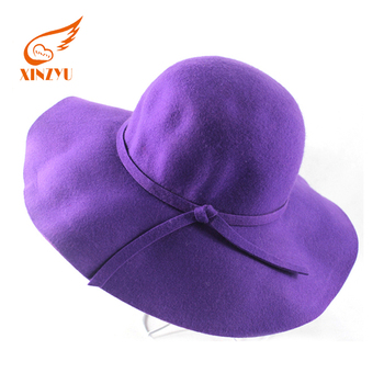 57d4705bc30 Wholesale Blank Wool Crushable Felt Hat Wide Brim Purple Fedora Hat ...