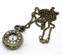 "Bronze Tone Necklace Chain Quartz Pocket Watch (Watch Case:Roman numerals) 86cm(33-7/8""), sold per pack of 1,Fashion"