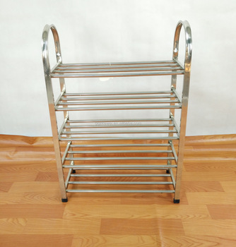 Stainless Steel Shoes Racks Factory Wholesale, 5 Layers Floor Stands , More durable XJ-5004