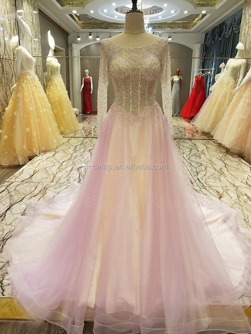 El125 Beaded Ball Gown Indian Long Sleeve Special Occasions Prom ...