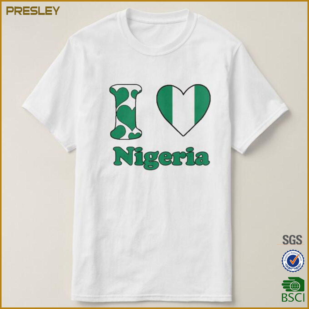 Factory Supply I Love Nigeria Men s Heavy Cotton Jersey 240gsm Men s T- Shirts