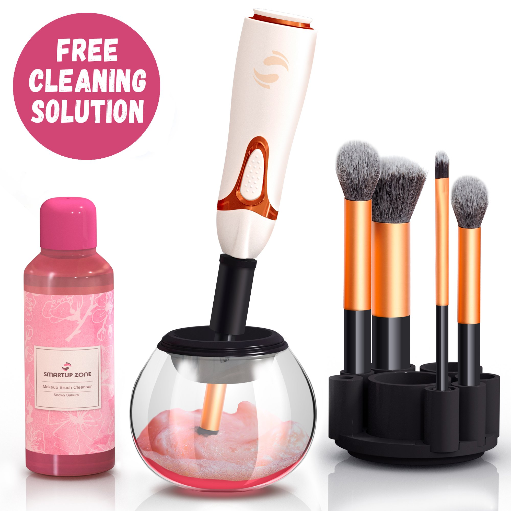 Get Quotations · Professional Makeup Brush Cleaner Automatic Spin Makeup Brush Cleaner Dryer Machine Bonus Cleaning Solution Best Electric