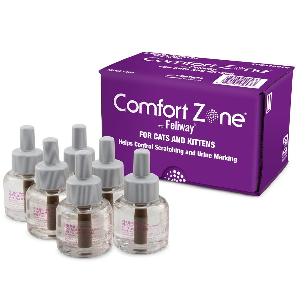 Comfort Zone Feliway Diffuser Refills, 6 Pack, Helps in controlling Scratching and Urine Marking