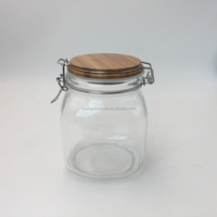 kitchen wholesale clip top glass honey jar with wooden lid