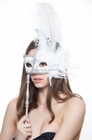 White Feather with Silver and White Handheld Masquerade Stick Mask