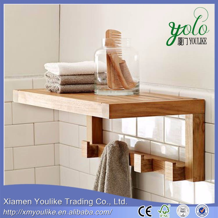bamboo clothes hanging wall shelf with 4 towel hooks