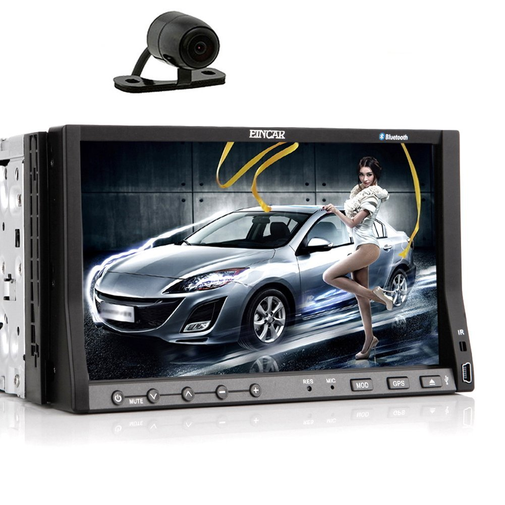 EinCar GPS Navi Capacitive Touch Screen Car Stereo Auto DVD CD RDS Audio AutoradioElectronics Double Din Radio Video Receiver In Dash EQ Subwoofer iPod 8GB Map+Camera