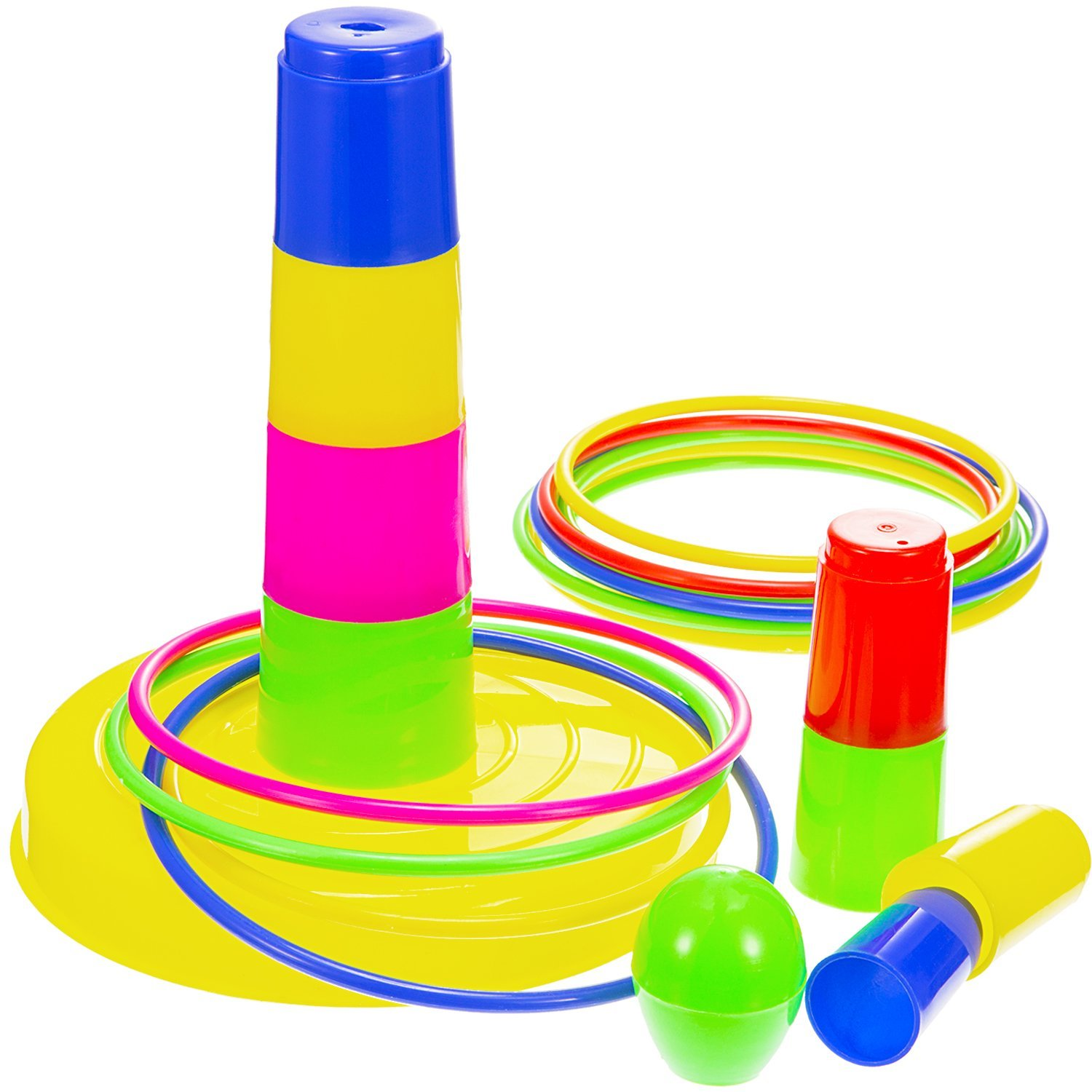 Frienda Ring Toss Game Colorful Plastic Detachable 8 Cone Set 12 Rings for Kids and Adults Fun Family Games Outdoor Toys