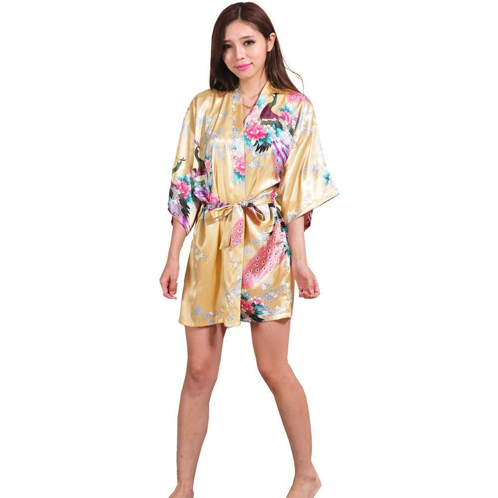 6c29c88bbe Get Quotations · ALJL Sleeping robe Silk women s satin kimono Short bathrobe  Comfortable pajamas Loose bathrobe Sweatshirt fashion yellow
