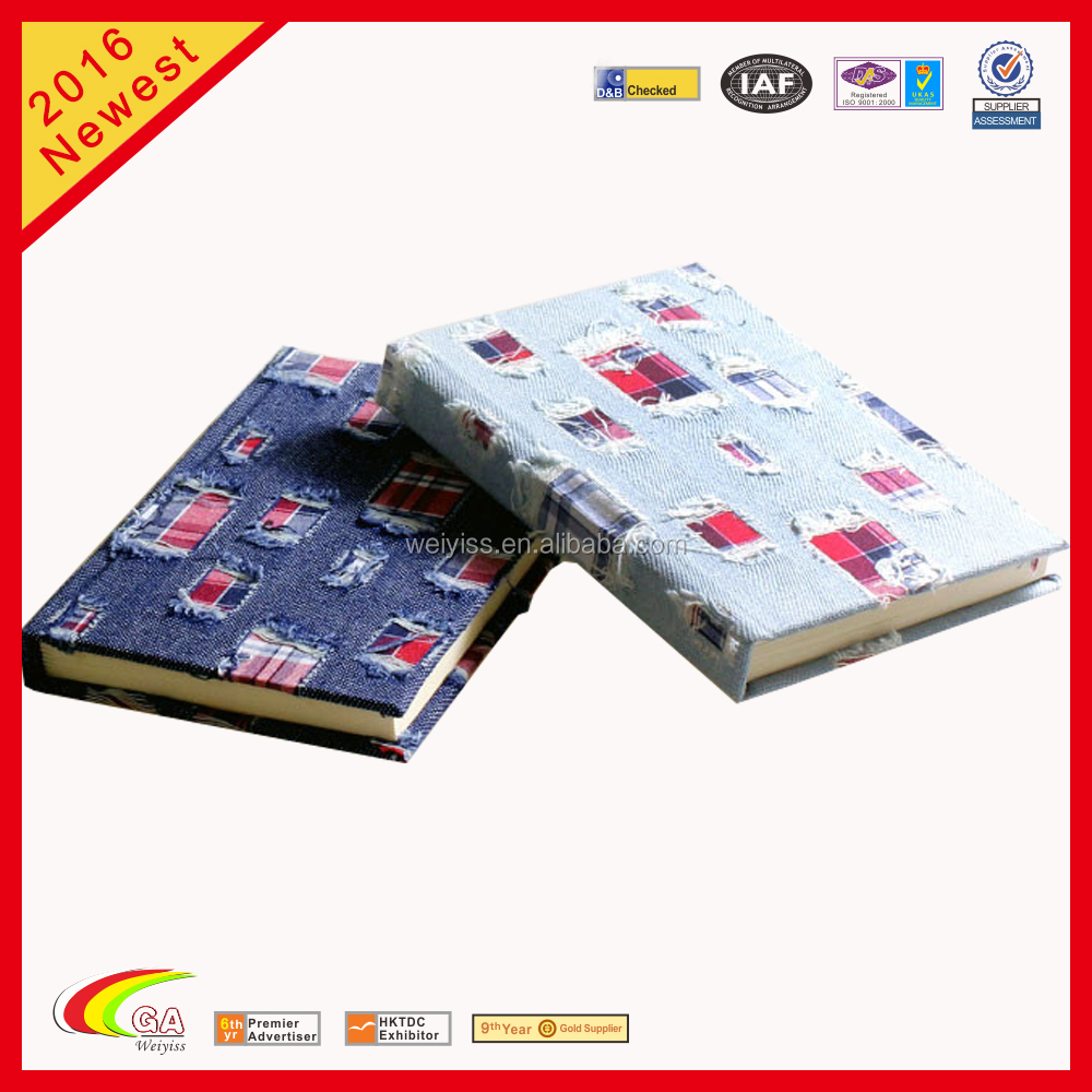 wholesale denim fabric cover notebook,promotional hard bound denim diary,mini denim notebook