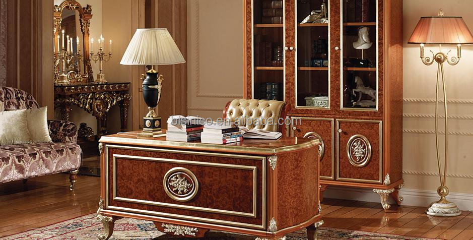 Victoria Style Queen Bed With Night Stand, Luxury Gold Bedroom Furniture  Set, Exquisite Carved