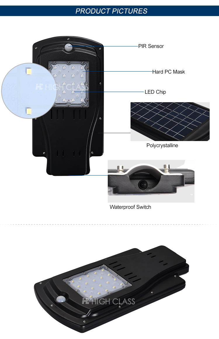 Waterproof high lumen 8w 10w integrated all in one solar powered led streetlights