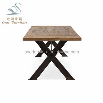 Osar Elm Wood Top Rustic Style Metal Cross Leg Dining Table