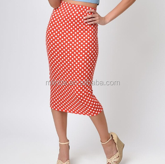 women wholesale Red White black polka Dot High Waist Stretch Jersey Pencil Skirt