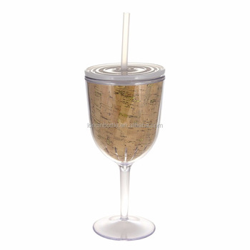New Gold Glitter Wine Glass13oz Wine Glasses With Lids Straw Double
