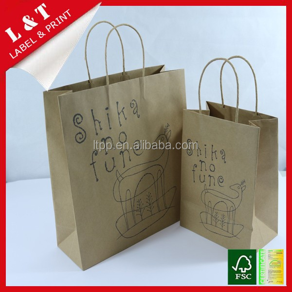 Custom made shopping paper handbag with printing