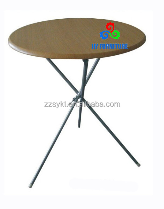 Furniture Design House French Black Frame Round wooden Top Cafe Bistro 3-leg Folding dining Table