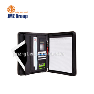 ADACF - 0219 special file folders with zip / promotional black leather document folders / business a4 leather portfolio folders