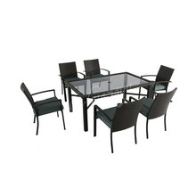 6 seater modernise style garden dinner furniture set outdoor indoor table and wicker dining chair