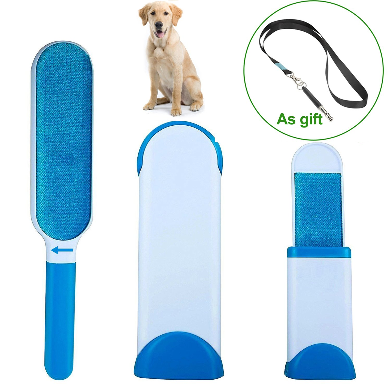 Pet Fur Lint Remover & Dog Whistle ,Double Sided Sticky Lint Brush with Self Cleaning Base, Pet Hair Brush for Dogs and Cats Lint Removal from Fabric, Cloth, Sofa and Furniture by Tonifa