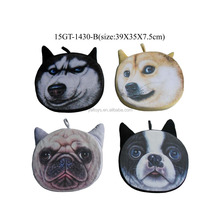 Digital Sublimation printing Plush Dog head Cushion with life-like printing