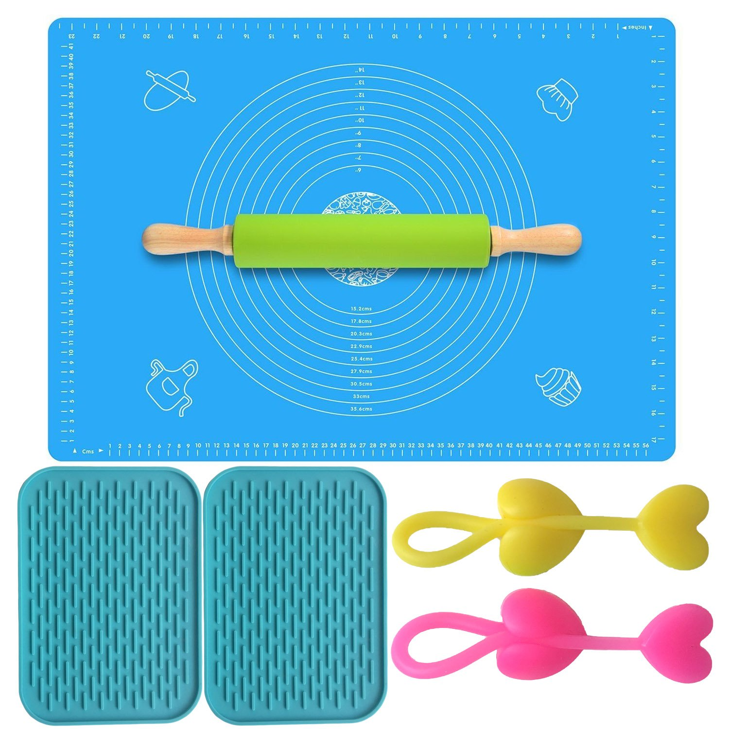 Allscarf007 Large Thin Pastry Mat Heat Resistant Nonskid Table Mat Orange Cartoon Pig Countertop Protection Silicone Nonstick Baking Mat