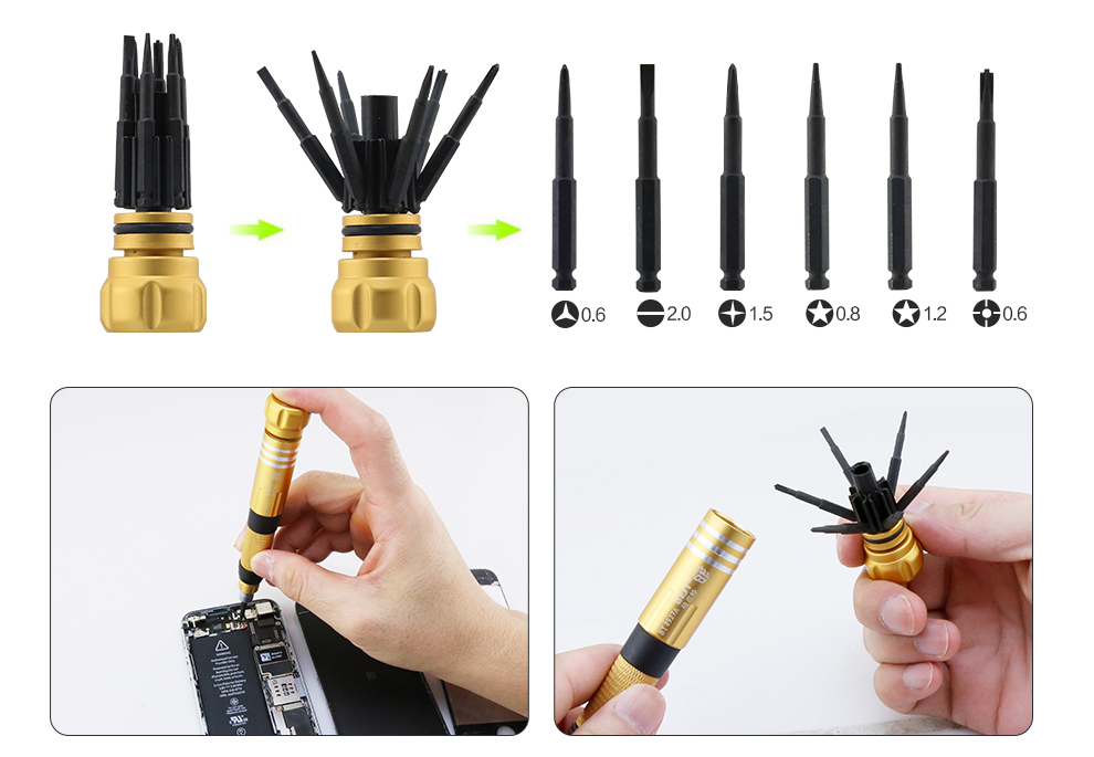 BEST-8927A S2 Steel 8 in 1 Screwdriver Set Repair Tool Kit for iPhone iPad Samsung Macbook air/pro