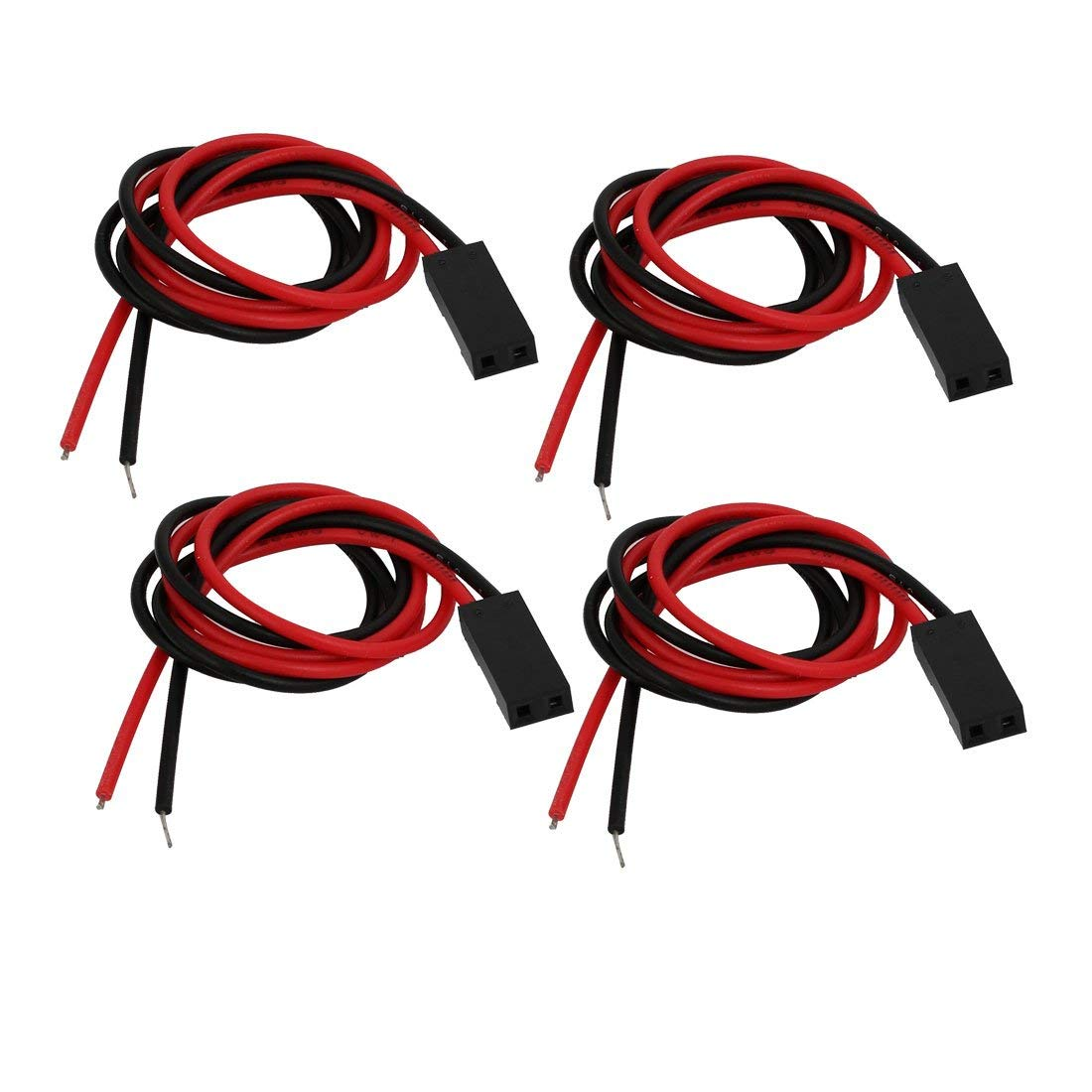 uxcell 4pcs 2.54mm Ptich 2-Terminal Male Cable Connector Extension Wire 250mm Length