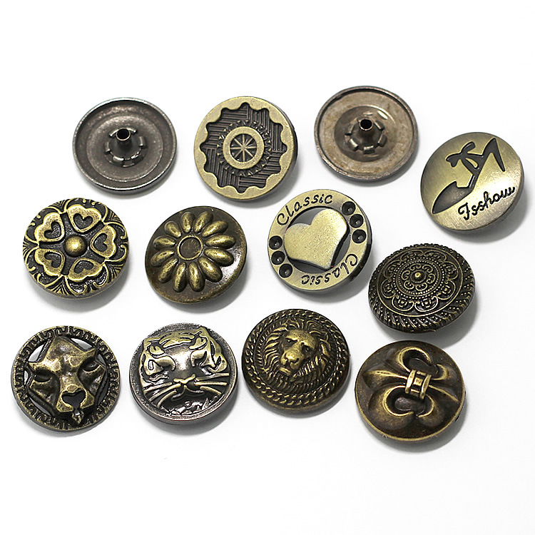 Custom vintage metal logo buttons for clothing