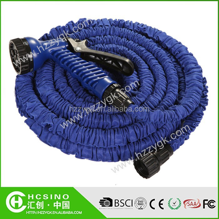 Expandable canvas garden hose with plastic wall mounted hanger hot sale in USA