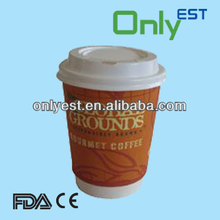 Protective food grade colored double wall coffee paper cups with lids