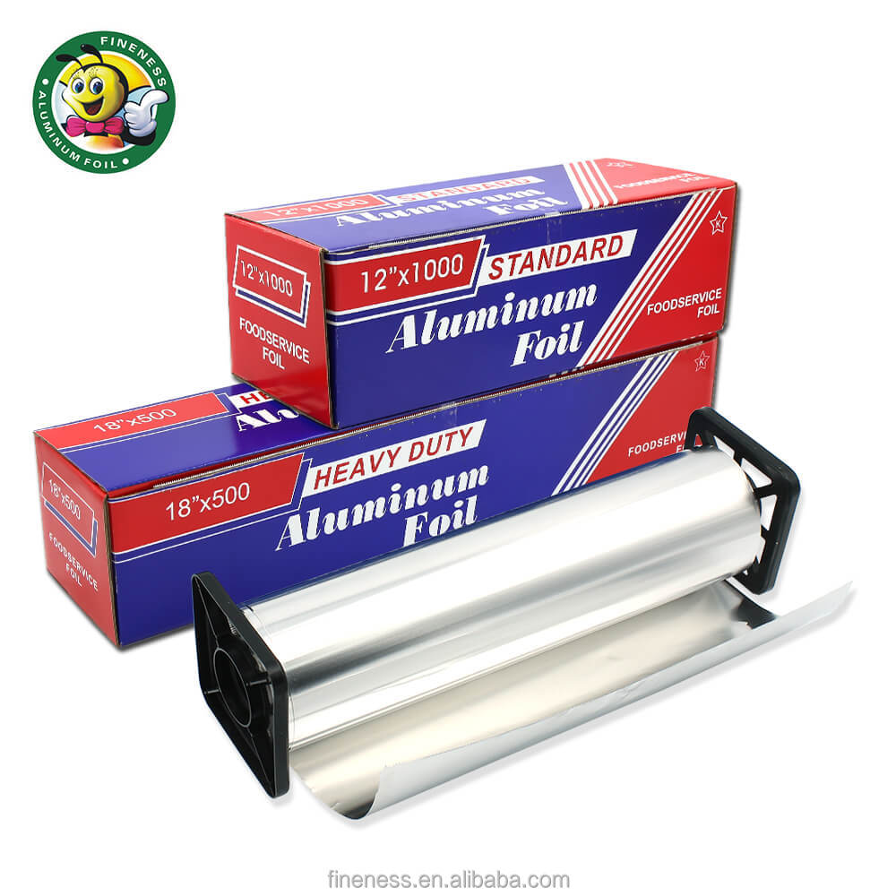 Packing Customized Household Aluminium Foil For Food With Black Plastic Cutter